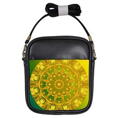 Yellow Green Abstract Wheel Of Fire Girl s Sling Bag by DianeClancy