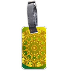 Yellow Green Abstract Wheel Of Fire Luggage Tag (one Side) by DianeClancy