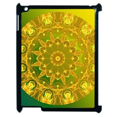 Yellow Green Abstract Wheel Of Fire Apple Ipad 2 Case (black) by DianeClancy