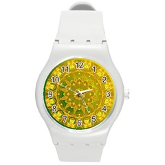 Yellow Green Abstract Wheel Of Fire Plastic Sport Watch (medium)