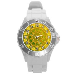 Yellow Green Abstract Wheel Of Fire Plastic Sport Watch (large) by DianeClancy
