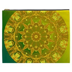 Yellow Green Abstract Wheel Of Fire Cosmetic Bag (xxxl) by DianeClancy
