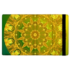 Yellow Green Abstract Wheel Of Fire Apple Ipad 2 Flip Case by DianeClancy
