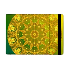 Yellow Green Abstract Wheel Of Fire Apple Ipad Mini Flip Case by DianeClancy