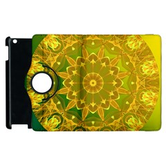 Yellow Green Abstract Wheel Of Fire Apple Ipad 3/4 Flip 360 Case by DianeClancy