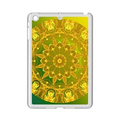 Yellow Green Abstract Wheel Of Fire Apple Ipad Mini 2 Case (white) by DianeClancy