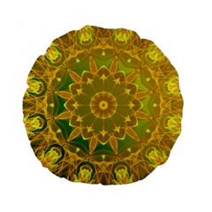 Yellow Green Abstract Wheel Of Fire 15  Premium Round Cushion