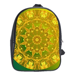 Yellow Green Abstract Wheel Of Fire School Bag (xl) by DianeClancy