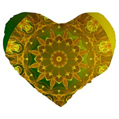 Yellow Green Abstract Wheel Of Fire 19  Premium Heart Shape Cushion by DianeClancy