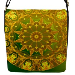 Yellow Green Abstract Wheel Of Fire Flap Closure Messenger Bag (small) by DianeClancy