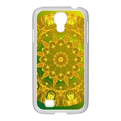 Yellow Green Abstract Wheel Of Fire Samsung Galaxy S4 I9500/ I9505 Case (white)