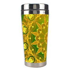 Yellow Green Abstract Wheel Of Fire Stainless Steel Travel Tumbler by DianeClancy