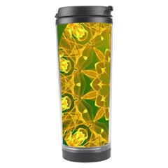 Yellow Green Abstract Wheel Of Fire Travel Tumbler by DianeClancy