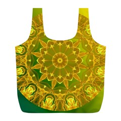 Yellow Green Abstract Wheel Of Fire Reusable Bag (l) by DianeClancy