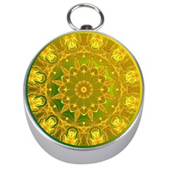 Yellow Green Abstract Wheel Of Fire Silver Compass