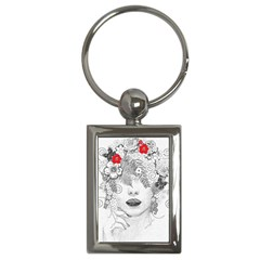 Flower Child Key Chain (rectangle) by StuffOrSomething