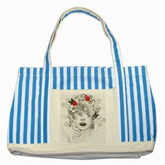 Flower Child Blue Striped Tote Bag by StuffOrSomething