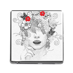 Flower Child Memory Card Reader With Storage (square) by StuffOrSomething