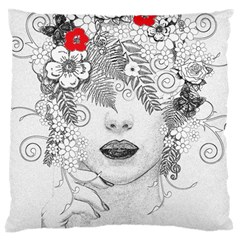 Flower Child Large Cushion Case (two Sided)  by StuffOrSomething