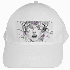 Flower Child Of Hope White Baseball Cap by FunWithFibro