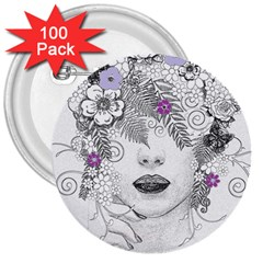 Flower Child Of Hope 3  Button (100 Pack) by FunWithFibro
