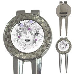 Flower Child Of Hope Golf Pitchfork & Ball Marker by FunWithFibro