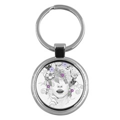 Flower Child Of Hope Key Chain (round) by FunWithFibro