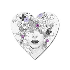 Flower Child Of Hope Magnet (heart) by FunWithFibro