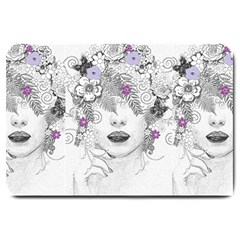Flower Child Of Hope Large Door Mat by FunWithFibro