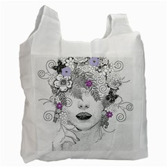 Flower Child Of Hope White Reusable Bag (two Sides) by FunWithFibro
