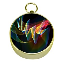 Northern Lights, Abstract Rainbow Aurora Gold Compass by DianeClancy