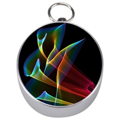Peacock Symphony, Abstract Rainbow Music Silver Compass by DianeClancy