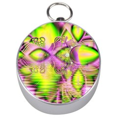 Raspberry Lime Mystical Magical Lake, Abstract  Silver Compass by DianeClancy