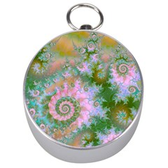 Rose Forest Green, Abstract Swirl Dance Silver Compass by DianeClancy
