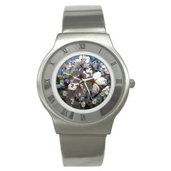 Cherry Blossoms Stainless Steel Watch (slim) by DmitrysTravels