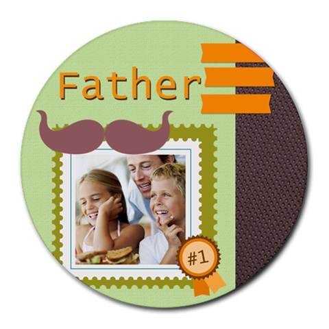 Fathers Day By Dad   Collage Round Mousepad   20as3awe0zf3   Www Artscow Com 8 x8 Round Mousepad - 1