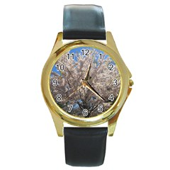 Cherry Blossoms Tree Round Leather Watch (gold Rim)  by DmitrysTravels