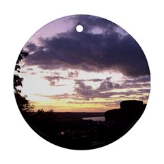Sunset Over The Valley Round Ornament (Two Sides) by Majesticmountain