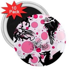 Fantasy In Pink 3  Button Magnet (10 Pack) by StuffOrSomething