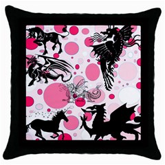 Fantasy In Pink Black Throw Pillow Case by StuffOrSomething