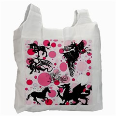 Fantasy In Pink White Reusable Bag (two Sides) by StuffOrSomething