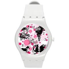 Fantasy In Pink Plastic Sport Watch (medium) by StuffOrSomething