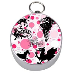 Fantasy In Pink Silver Compass by StuffOrSomething