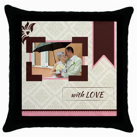 Wedding By Paula Green   Throw Pillow Case (black)   04sozb41l0sl   Www Artscow Com Front