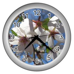 Cherry Blossoms Wall Clock (silver) by DmitrysTravels