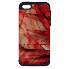 Grey And Red Apple Iphone 5 Hardshell Case (pc+silicone)
