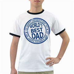 Fathers Day Rubber Stamp Effect Men s Ringer T Shirt by Zandiepants
