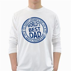 Fathers Day Rubber Stamp Effect Men s Long Sleeve T-shirt (White) by Zandiepants