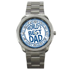 Fathers Day Rubber Stamp Effect Sport Metal Watch by Zandiepants