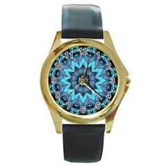 Star Connection, Abstract Cosmic Constellation Round Leather Watch (gold Rim)  by DianeClancy